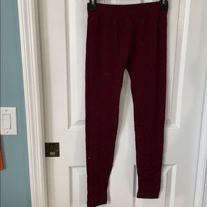 Maroon patterned leggings size small